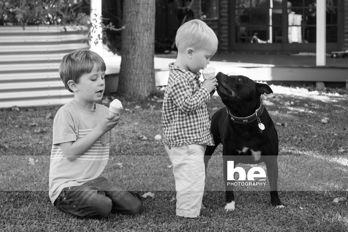 dog and children portrait